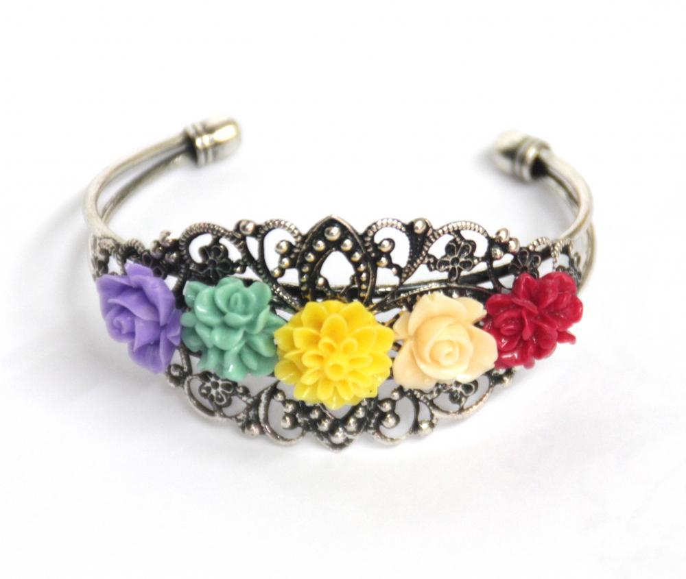 Rainbow flower bracelet hand cuff antique silver