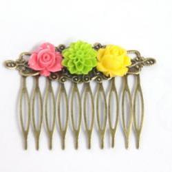 Flower Hair Comb Trio Bright Colors