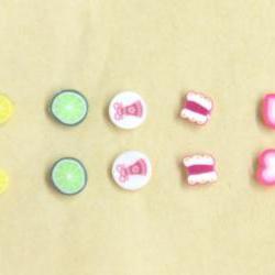 Cute Earrings Set 5 Pairs Lemon, Lime, Butterfly, Christmas bell, Love