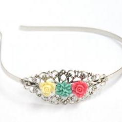 Silver headband with roses
